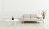 3d rendering of modern beige couch in a white living room interi
