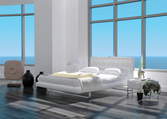 3d rendering of modern white bedroom interior with seascape view