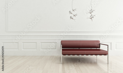 3d rendering of modern red couch in a white living room interior