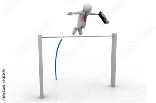 3d Business man Pole-vaulting