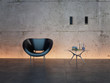 3d rendering of black chair in front of concrete wall