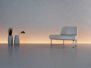 3d rendering of white chair in front of illuminated wall