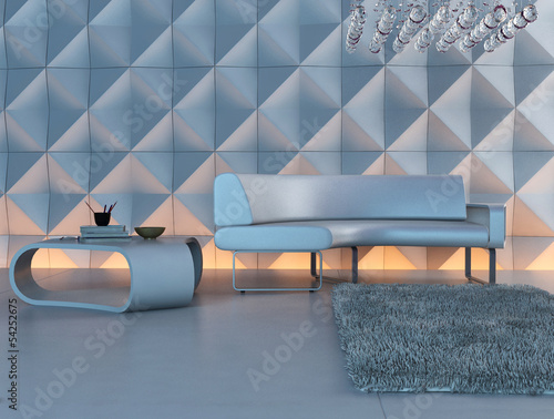 Modern white couch in front of illuminated design wall