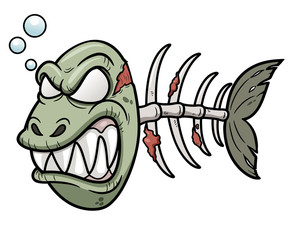 Vector illustration of Cartoon zombie fish