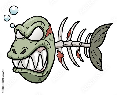 Vector illustration of Cartoon zombie fish