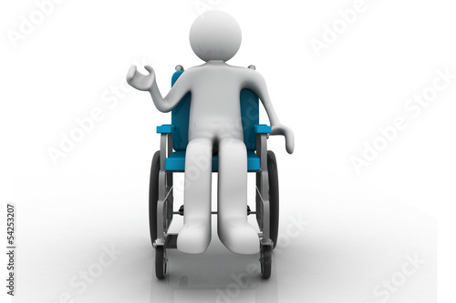 3d human character, person in a wheelchair