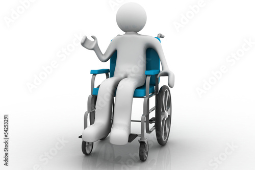 3d people - human character, person in a wheelchair
