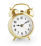 Alarm clock made from gold metal isolated with clipping path wit