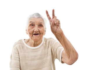 grandma shows peace