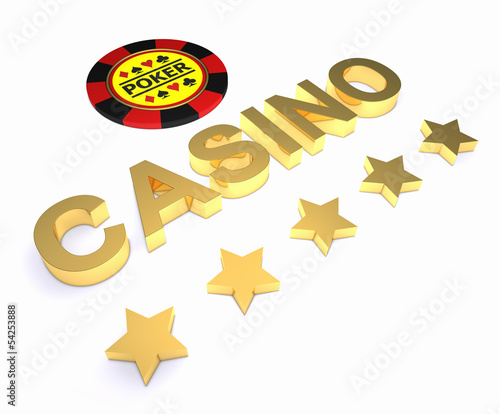 Golden word CASINO, chip and stars