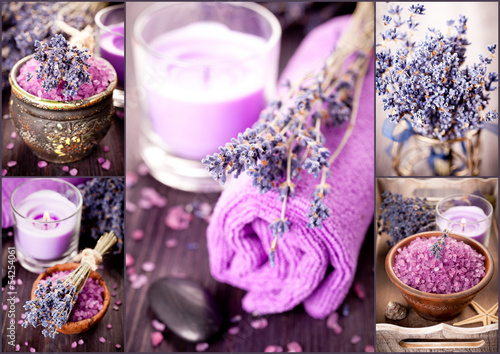 Lavender, massage stones, sea salt, candles. Spa collage.