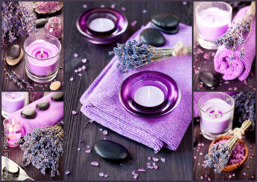Lavender, massage stones, sea salt, candles