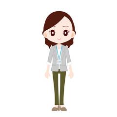 オフィスカジュアルの女性 IDカード
