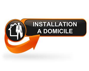 installation à domicile sur bouton web design orange