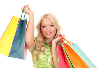 Laughing elegant woman with shopping bags