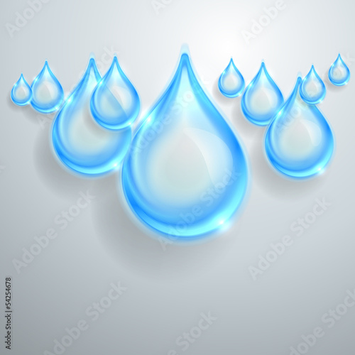 Blue shiny water drops