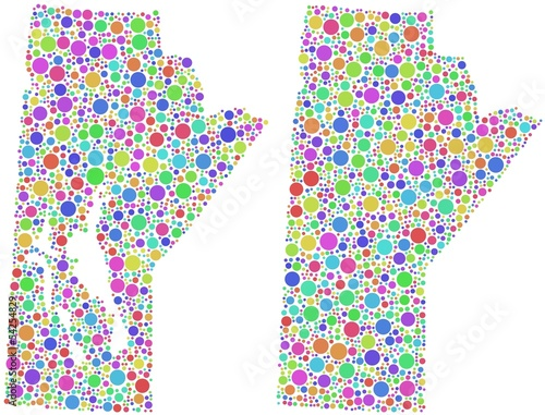Map of Manitoba - Canada - in a mosaic of harlequin circles