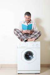 Men and washing machine