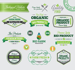 Set of organic badges and labels