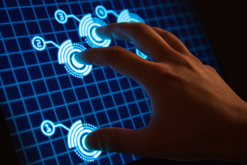 High-tech touch screen display with futuristic interface