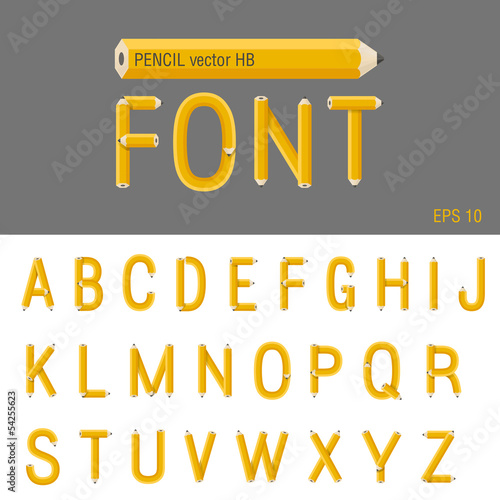 Pencil Font vector. Creative type design. Education school abc