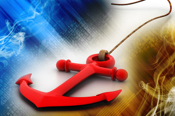 Highly rendering of  anchor in white background