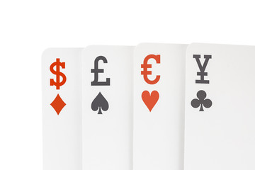 Foreign Exchange Playing Cards with Dollar Euro Pound Yen Symbol
