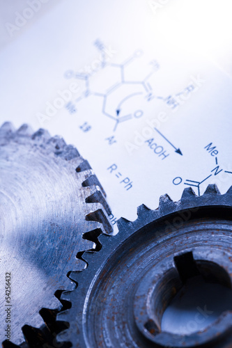 Chemistry formula with mechanical cogwheels