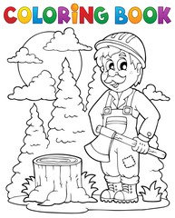 Coloring book lumberjack theme 1