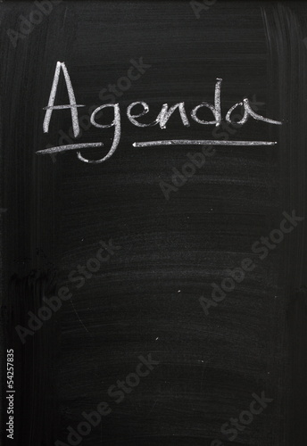 Agenda on a used Blackboard