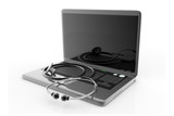 stethoscope with laptop on the white background