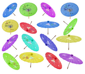 colección de paraguas de colores
