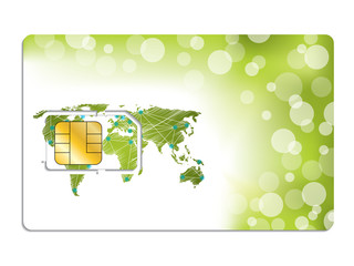 Sim card design with world map