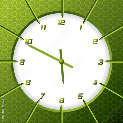 Cool green clock with hexagon background