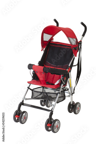 Poster A cute red baby pram isolated on white background