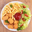 chicken nuggets,french fries and salad