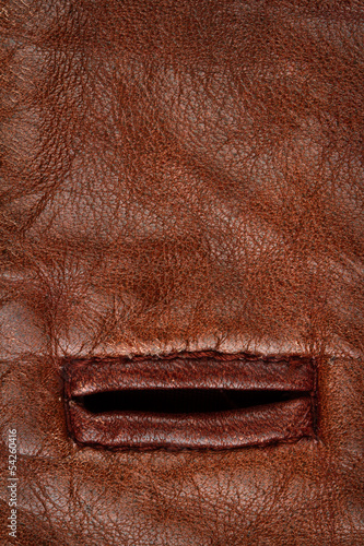 Buttonhole in leather