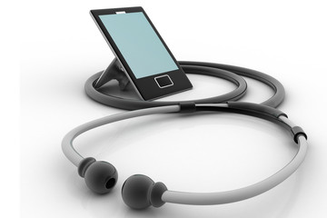 Medical tablet and stethoscope