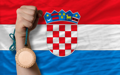 Bronze medal for sport and  national flag of croatia