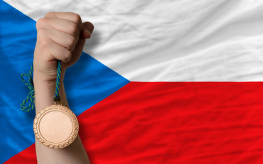 Bronze medal for sport and  national flag of czech