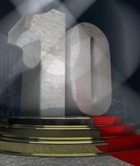 Night Scene with 10 anniversary pedestal