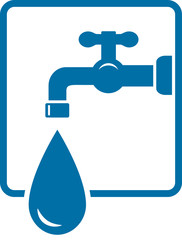sign with tap and big water drop