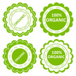 Organic food stamp or label vector ecology background