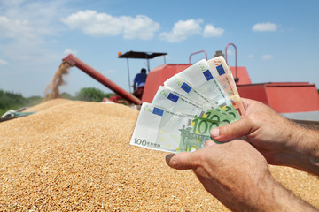 Hand holding Euro banknote with wheat and combine