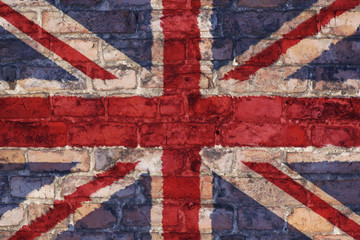 Uk flag graphic on brick background