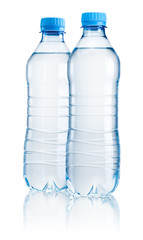 Two plastic bottle of drinking water isolated on white backgroun