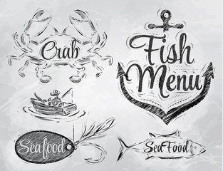Set collection of seafood and fish menu charcoal
