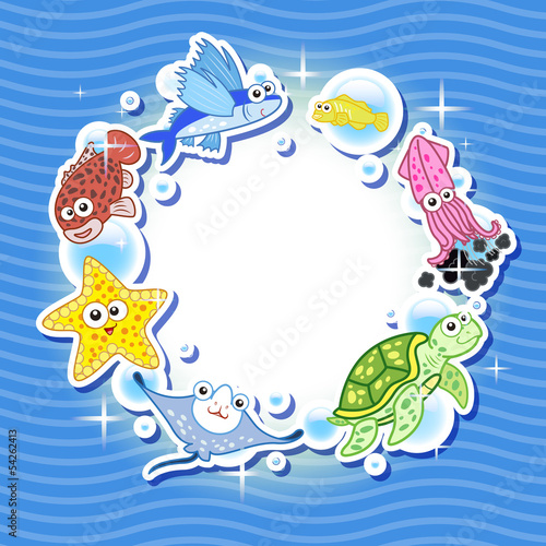 Decorative frame for photo with tropical bright fishes