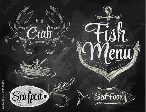 Set collection of seafood and fish menu