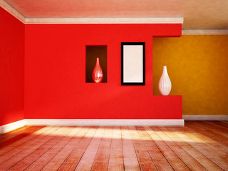 empty room with the vases